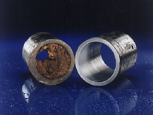 Two pipe examples showcasing how Waterline can benefit the inside of a pipe