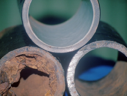 Three pipe examples showcasing how Waterline can benefit the inside of a pipe