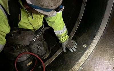 An old waterline being lined with WaterLine